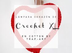 Lampara corazon de crochet XL